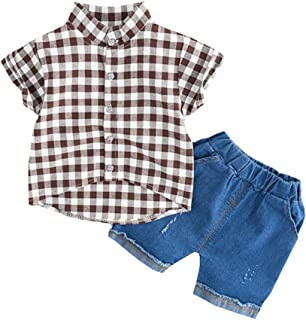 Gyratedream Baby Boy Clothes Set Plaid Shirts Long Sleeve Shirt Tops Jeans Denim Trousers Pants 2Pcs Spring Autumn Casual Outfits for 1-5 Years Kids