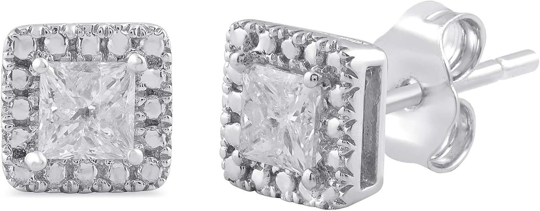 Jewelili 10k White Gold 1/2 Cttw Princess Cut White Diamond Solitaire Stud Earrings