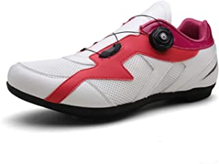 Self-Locking Road Bike Shoes Non-slip Wear-Resistant Sports Bike Cycling Sneakers Unisex MTB Trainers Ultralight Athletic Racing Shoes,Pink,37