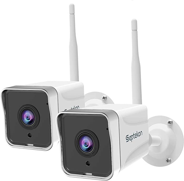 Security Camera Outdoor (2 Pack), Septekon 1080P WiFi Surveillance Cameras for Home Security, IP66 Waterproof Night Vision Camera with Motion Detection, 2-Way Audio, Cloud Storage, Work with Alexa
