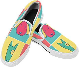 InterestPrint Mens Slip-On Canvas Shoes Casual Comfort Lightweight Loafers Flat Outdoor Sneakers Dog Head Icon Set Pop Art Colors