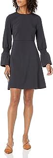 Amazon Brand - Lark & Ro Women's Stretch Twill Gathered Sleeve Crew Neck Dress