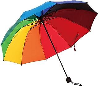 HorBous Dreifacher Klappbarer Regenschirm für regnerische und sonnige Tage Regenbogen Regenschirm 10 Rib Windbeständiger Stahlrahmen 10 Farben Regenschirm Tuch