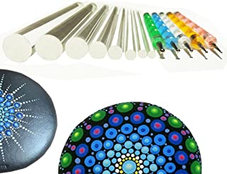 Mandala Rock Painting Pen Dot Dotting Tools Stencil Brush Set 12 PCS Flat Head 4mm 5mm..