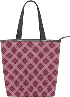 ISAOA Große Einkaufstasche aus Segeltuch, Rot kariert, Handtasche Strand Tote Bag für Mädchen Frauen