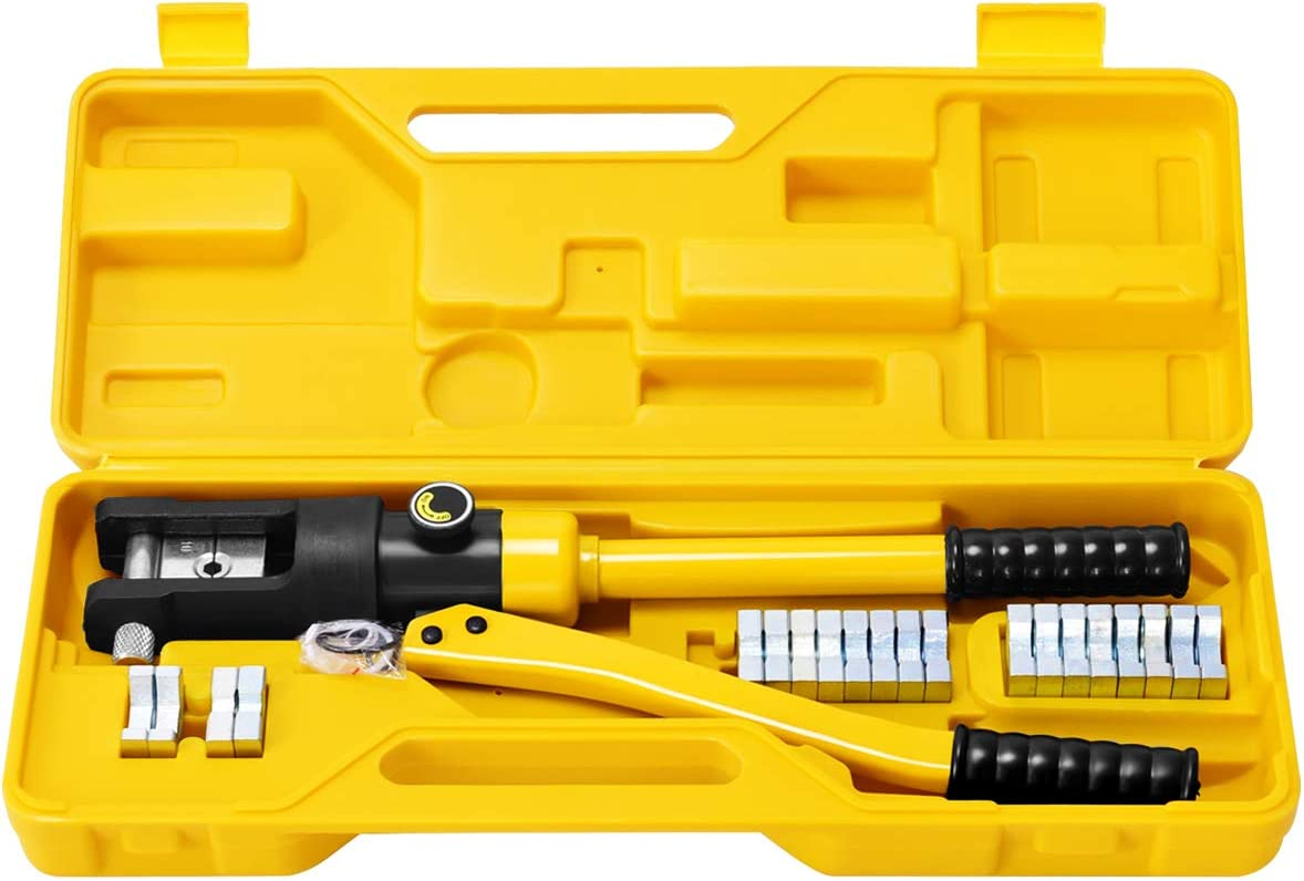 Goplus 16 Ton Hydraulic Wire Crimper Battery Cable Lug Terminal Crimping Tool