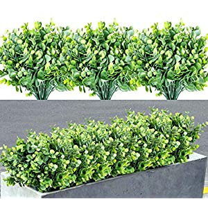 7 Bundles Artificial Boxwood Shrubs Greenery Stems Fake Plants Outdoor Large Round Fade Resistant Faux Plastic Hanging Plants for Garden Home Porch Patio Window Box Wedding Room Decor, Grey Green