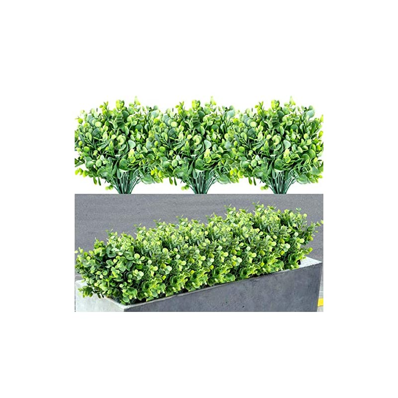silk flower arrangements 7 bundles artificial boxwood shrubs greenery stems fake plants outdoor large round fade resistant faux plastic hanging plants for garden home porch patio window box wedding room decor, grey green
