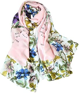 Fashion Lady Silk Satin Scarf with Letter Flower 180 * 90cm Summer Sunscreen Long Scarf (Color : 05, Size : 180 * 90cm)