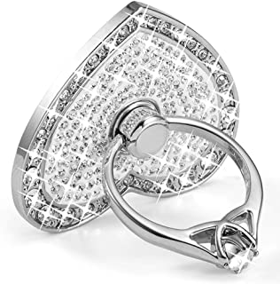 Cell Phone Ring Holder,360° Rotation Diamond Metal Finger Ring Grip for iPhone iPod iPad Samsung Galaxy and Other Smartphones (Silver)