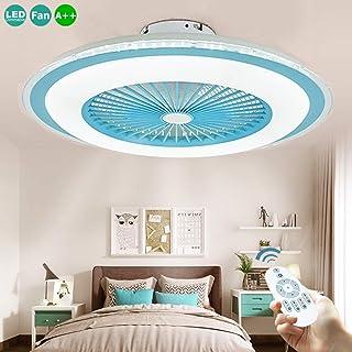 Ventilador De Techo Con Función De Luz Luz De Techo LED Moderna Lámpara De Techo Regulable Con Velocidad De Viento Ajustable De 40W Ultra Silencioso Control Remoto Sala De Estar Dormitorio,Azul