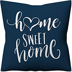 LAKYTION Geometric Pillow Cover 18x18 Inch Home Sweet Home Throw Pillow Cover Decorative Couch Pillow Cover Linen Cushion Cover for Home Sofa Bed Decoration Blue