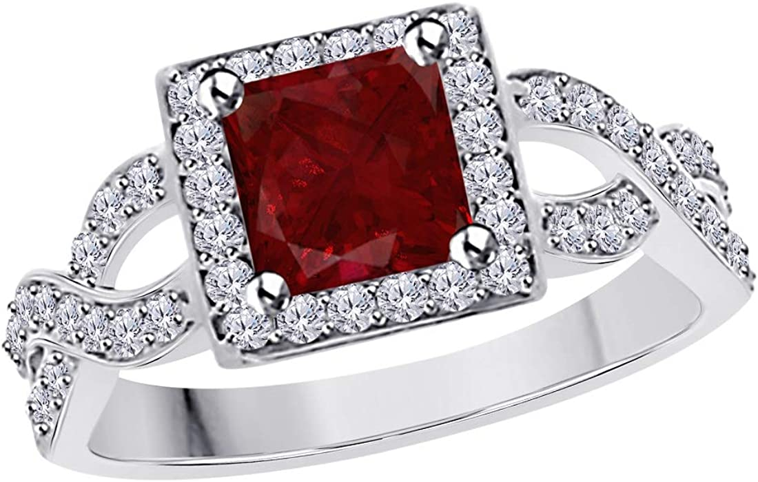 Ranking TOP13 1.00 Ct Princess Cut Red Ruby Simulated specialty shop Diamond Engagem Halo and