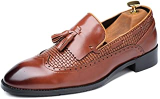 HUAHs0 Oxfords for Men Tassels Loafers Slip on PU Leather Rubber Sole Pointed Toe Burnished Style Anti-Skid Perforated Embossed` (Color : Yellow, Size : 39 EU)