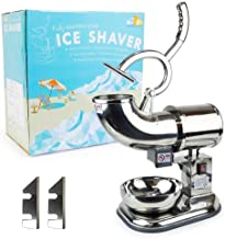 WYZworks Stainless Steel Commercial Heavy Duty Ice Shaver with 2 Extra Blades - 440lb/h Sno Snow Cone Shaved Icee Maker Machine