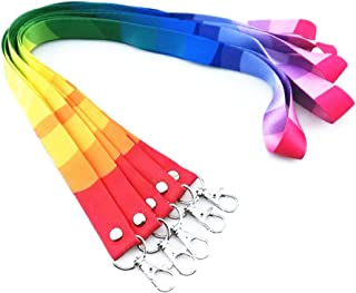 yueton 5pcs Colorful Rainbow Neck Lanyards Straps Strings Cords with Lobster Clasp for ID Tags, Name Card, Business ID Card Holder, Badge Reel