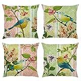 Bonhause Juego de 4 Funda de Cojín 45x45cm Pájaro y Flor Algodón Lino Fundas de Almohada para Cojines Decorativos para Exterior Sofá Cama Coche Hogar