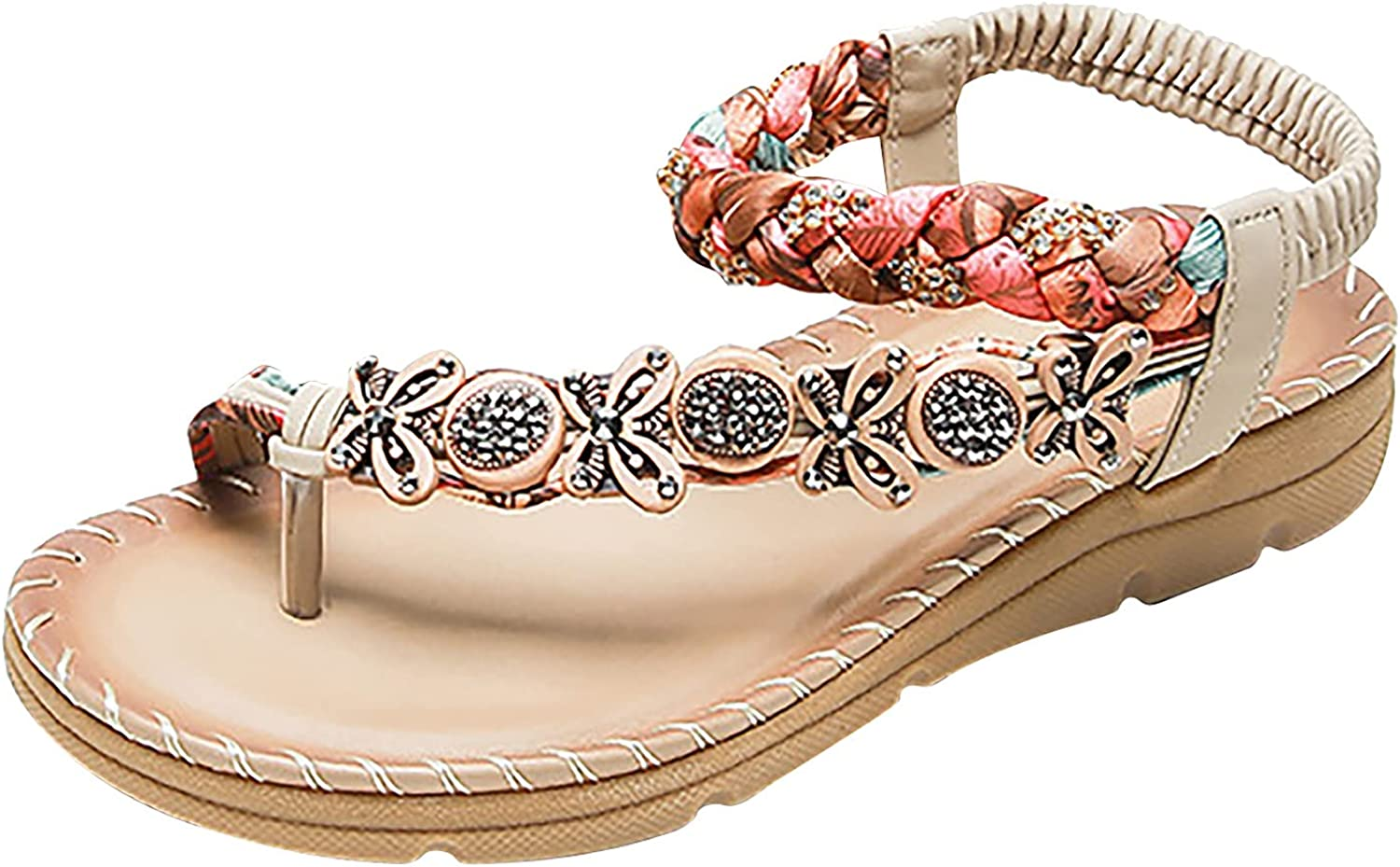 ZiSUGP Women Ladies Popular Crystal Casual Cheap mail order specialty store Band Be Elastic Flat Bohemian