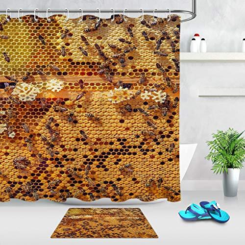 AdaCrazy Bad wasserdichtes Gewebe Honig Waben Honig Biene Duschvorhang Haken Pad beinhaltet 12 Kunststoffhaken Dickes wasserdichtes Material Flanell Badematte 40x60cm Bad Vorhang 71x71 Zoll