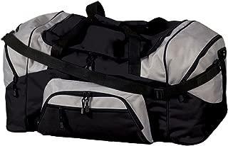 Port & Company Color Block Sport Duffel Bag, Black/Grey, One Size. BG99