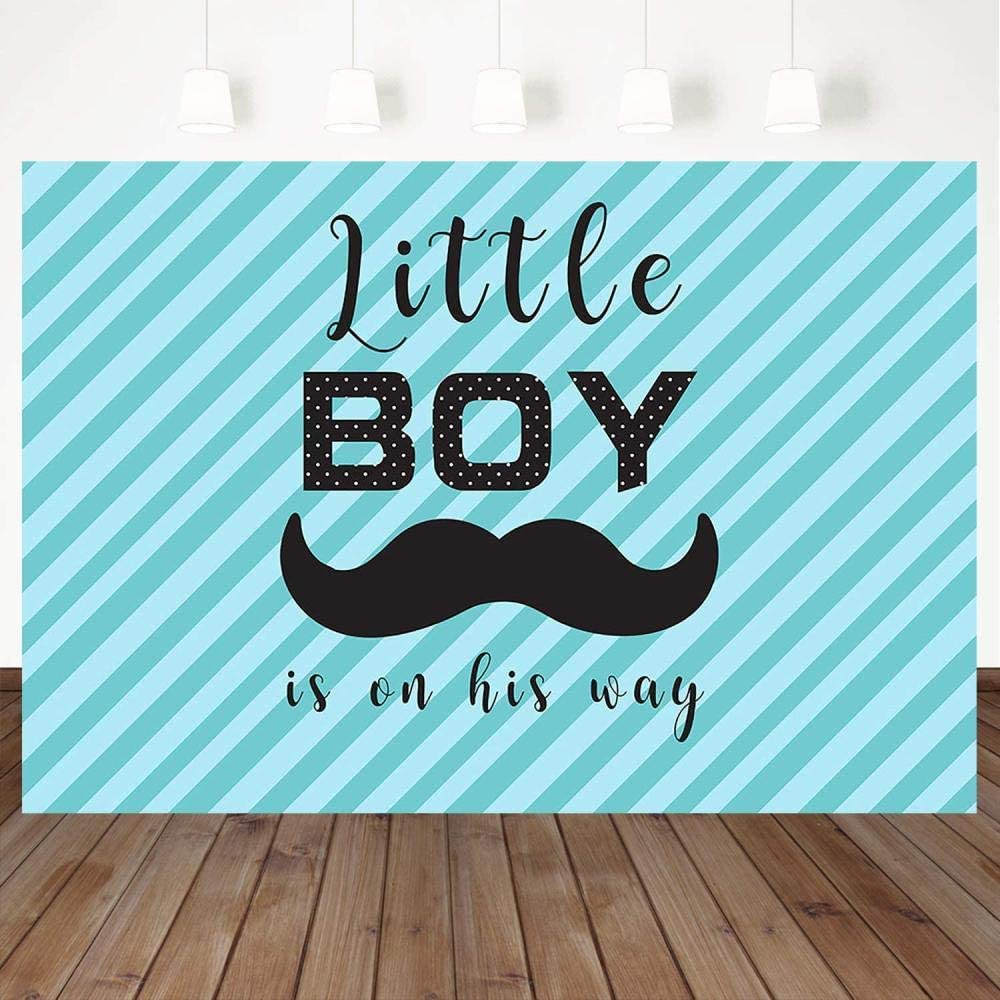 Zhy Little Boy On The Way Backdrop Blue Striped Mustache Background 7X5ft Vinyl Boy Baby Shower Party Photography Background Studio Props