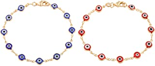 Gold Overlay with Navy Blue & Red Mini Evil Eye Style 7.5 Inch Clasp Bracelet (T-326 + T-330)