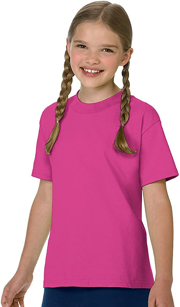 Hanes Authentic Tagless Kids' Cotton T-Shirt, Wow Pink, S