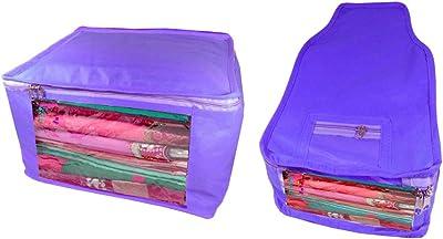 Atorakushon Fabric Combo Saree Cover Blouse Clothes Storage Bag Wedding Wardrobe Organiser Set of 2 (Blue)