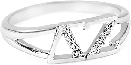 The Collegiate Standard Delta Zeta Sterling Silver Ring set with Czs