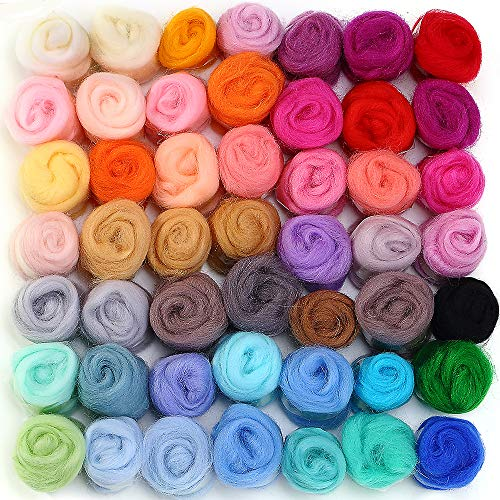 MOMODA 50 Colors Fibre Wool Yarn Roving for Needle Felting...