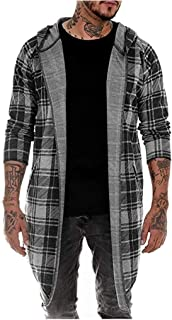 ⭐ Hebe Top ⭐ Mens Fashion Plaid Patchwork Cardigan Long Sleeve Hooded Outcoat Jacket
