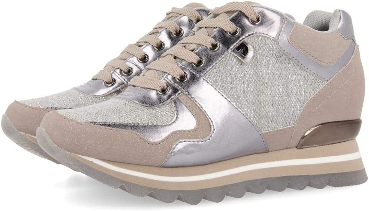 GIOSEPPO shoes woman low sneakers with internal wedge 47654 HAVRE silver size 41 Silver