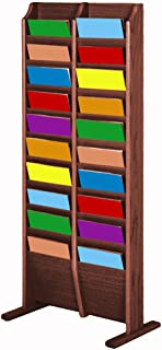 Wooden Mallet 20 Pocket Cascade Free-Standing Magazine Display Rack, Mahogany