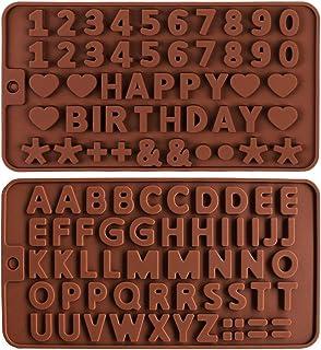 2pcs Moules en silicone pour bonbons et chocolats,Moule à Lettre en Silicone moules en silicone avec numéro de l'alphabet ...