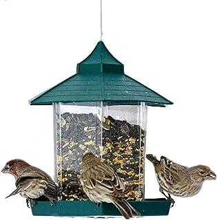 FKYou Green Pavilion Bird Feeder Plastic Hanging Bird Food Container Outdoor Waterproof Bird Feeder For Pet Supplies (Colo...