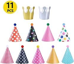 ATPWONZ Geburtstag Hüte Kronen Set Partyhüte Party Kegel Hüte für Geburtstag Festival Party - 11 Stück