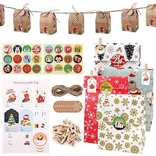 105 Bolsas de regalo Navidad Traje bolsas de regalo papel Kraft de Caramelo Bolsas de Regalo Reutilizable con Pegatinas Bolsas de Papel para favores de Fiesta de Navidad, cumpleaños