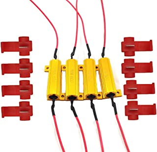 CUTEQUEEN TRADING 4PCS 50W 6Ohm LED Load Resistors for LED Turn Signal Lights or LED License Plate Lights or DRL (Fix Hyper Flash, Warning Cancellor) with 8pc Quick wire Clip