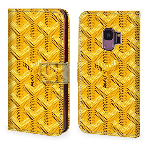 Wallet Case for Samsung Galaxy S9 Yellow Goyard Inspire Design PU Leather Magnetic Closure Shockproof Covre with Straps ID&Credit Cards Pocket Protective Shell Series