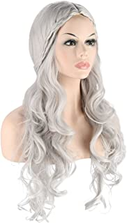 Long wave curly hair cosplay Wigs for Game of Thrones Daenerys Targaryen khaleesi Long Wavy Wigs games halloween party Costumes Wigs (Silvery Grey)