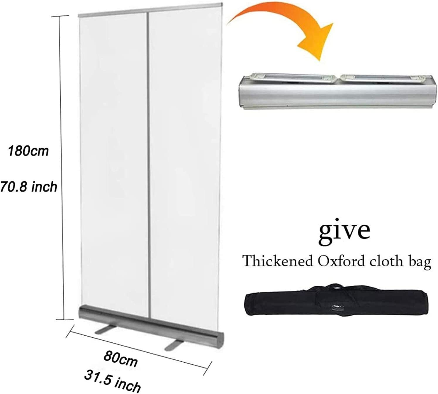 Size : 80180cm (Using in Business) Roll up Banner Floor Standing Sneeze Guard Portable Roll Up Banner with Clear Film Protective Shield for Office Salons Clinics,Stores Restaurants Banner Stand