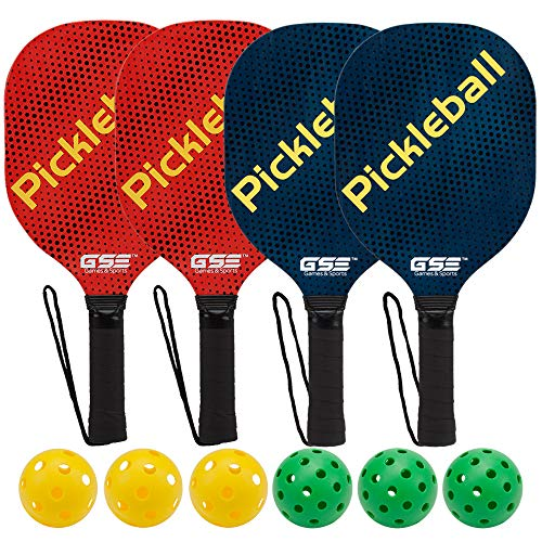 GSE Games & Sports Expert Hardwood Pickleball Paddle and Pickleball Ball Bundles (Single Paddle & Sets Available) (4 Paddles / 6 Balls)
