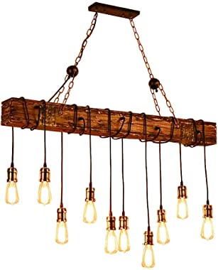 Ladiqi 10-Lights Wooden Island Chandelier Retro Rustic Pendant Lighting Lamp Multiple Adjustable Hanging Ceiling Linear Light