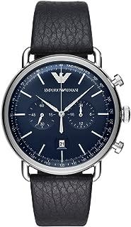 Men's Dress Stainless Steel Quartz Watch with Leather Calfskin Strap, Blue, 22 (Model: AR11105)