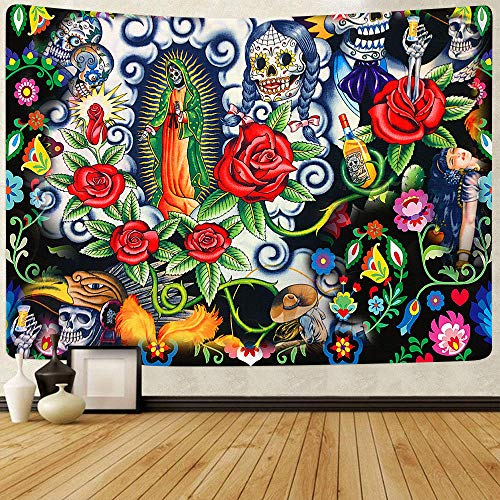 Tapestry Day of The Dead Backdrop for Fiesta Sugar Skull Wall Hanging Tapestries for Living Room Decor  150x200cm