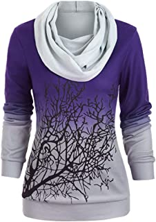 Fshinging Women Plus Size Halloween Tree Print Tops Convertible Collar Sweatshirt Blouse