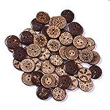 200 botones de coco con 2 agujeros, redondos, de madera natural, para coser y manualidades, 18 mm