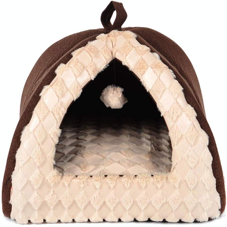 Cat Tent Nest Kennel Pet Nest Pet Supplies Cat Litter Yurt Small Animal Beds (color   Brown, Size   S)