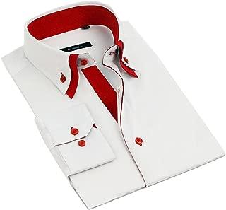 Mens Italian Shirts Double Collar Slim Fit Casual Button Down Shirt