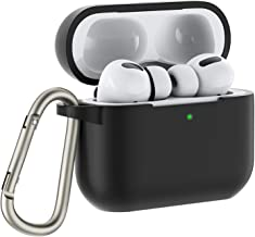 OMOTON Case Compatible with Airpods Pro, Protective Silicone Cover with Keychain, LED Indicator Visible, Not Affect Wireless Charging Function, Black